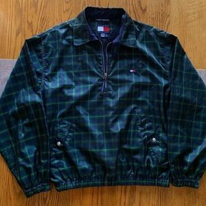 Tommy Hilfiger Plaid 1/4 Zip Green Mens Medium